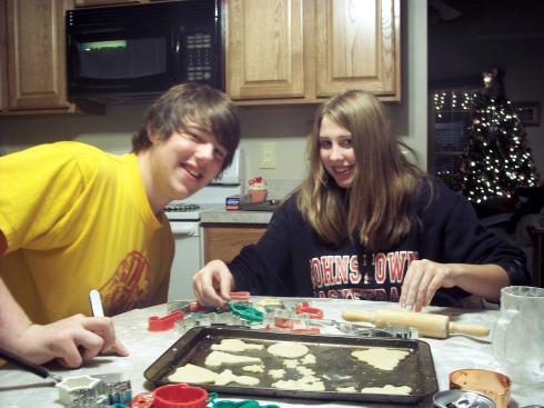 Ryan and Kaitlyn making Sugar Cookies